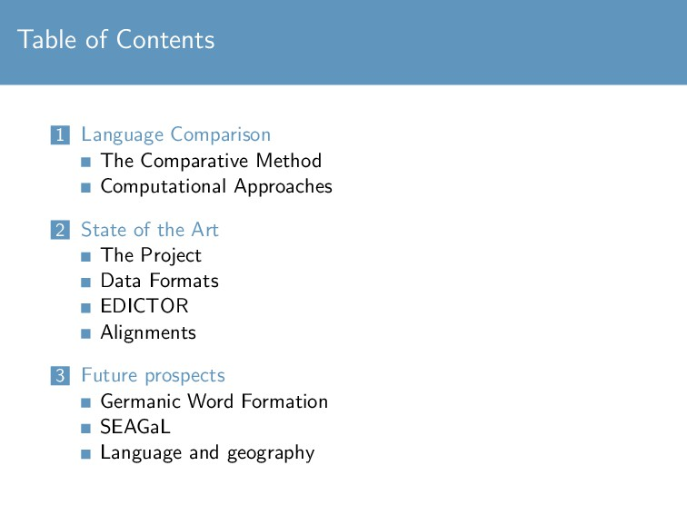 Table of Contents 1 Language Comparison The Com...