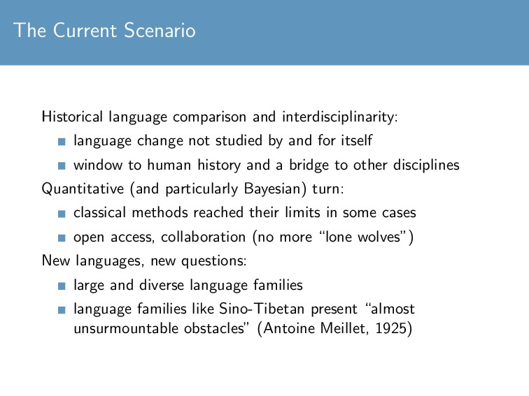 The Current Scenario Historical language compar...