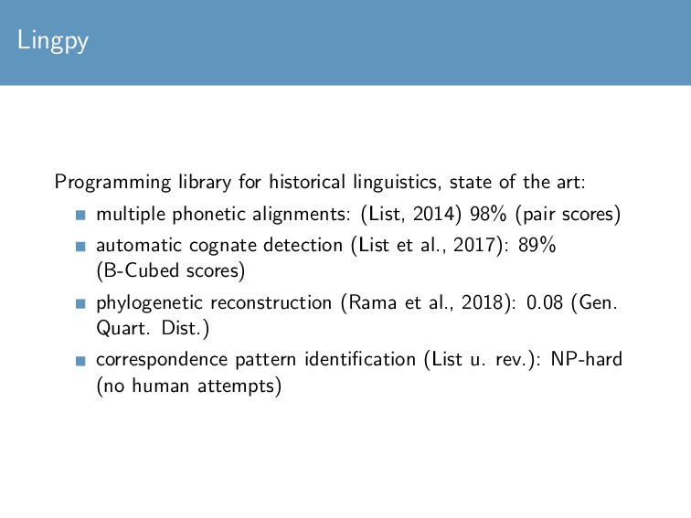 Lingpy Programming library for historical lingu...