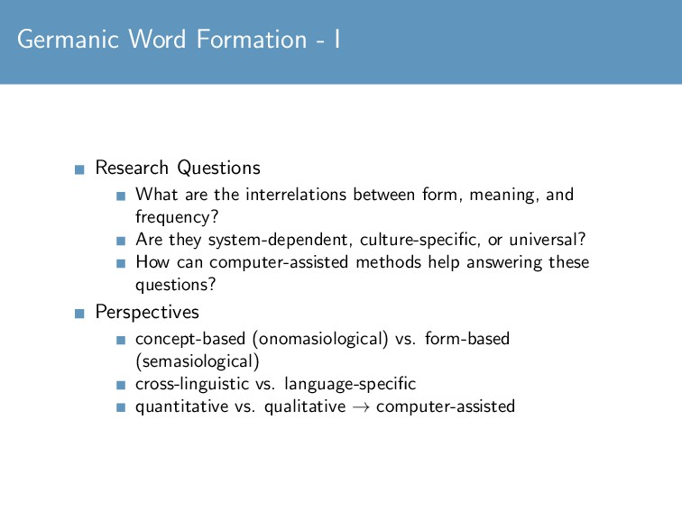 Germanic Word Formation - I Research Questions ...