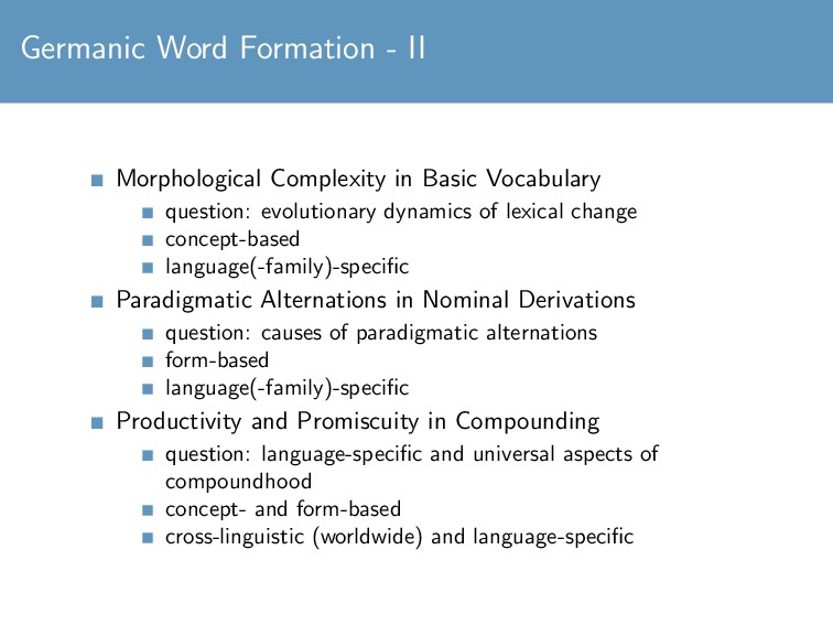 Germanic Word Formation - II Morphological Comp...