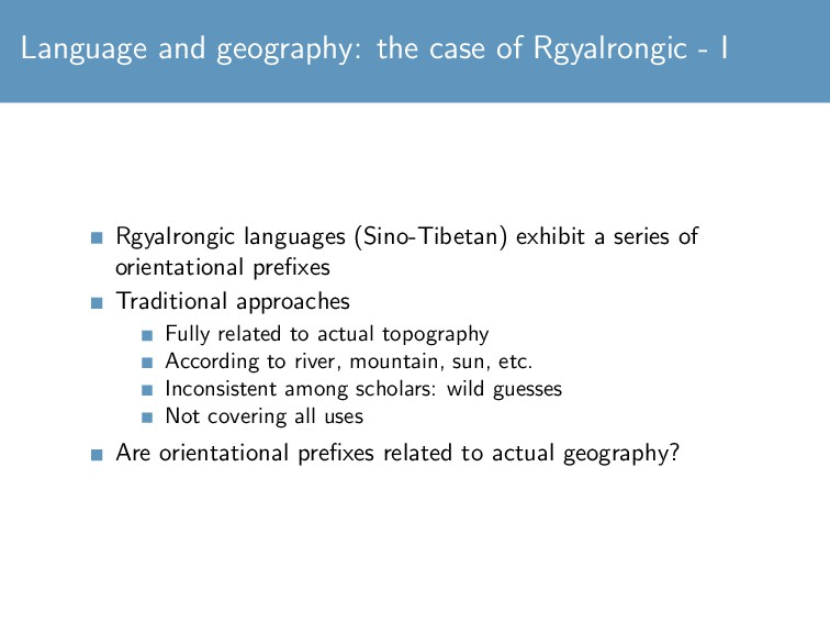 Language and geography: the case of Rgyalrongic...