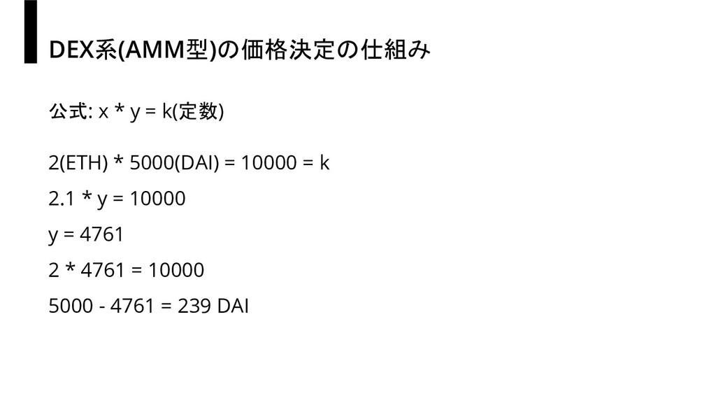 DEX系(AMM型)の価格決定の仕組み 公式: x * y = k(定数) 2(ETH) * ...