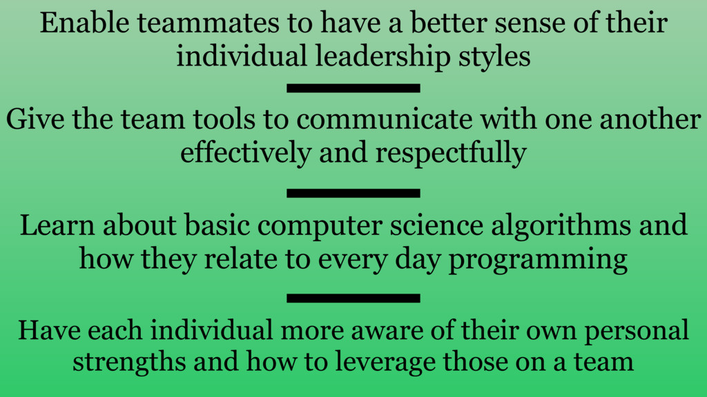 Enable teammates to have a better sense of thei...