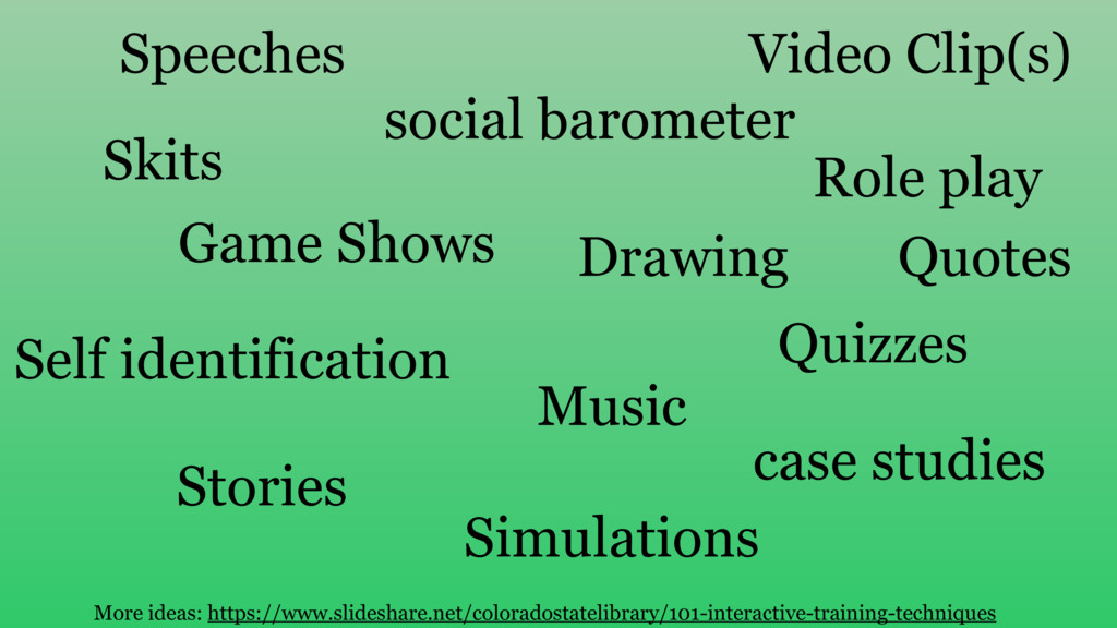 Skits Drawing social barometer Quizzes Self ide...