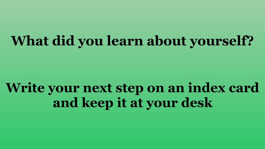 What did you learn about yourself? Write your n...