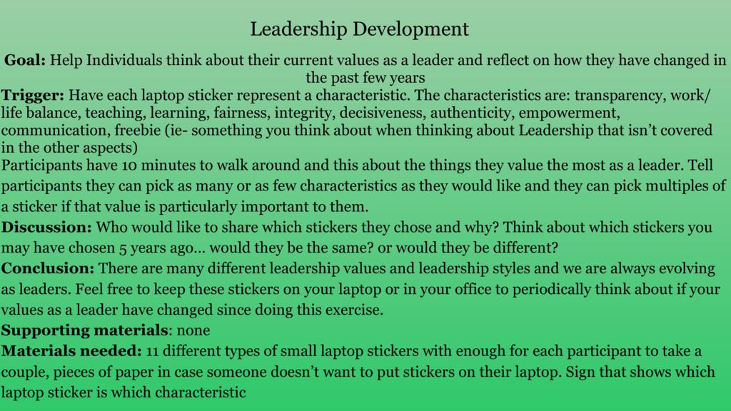 Leadership Development Goal: Help Individuals t...