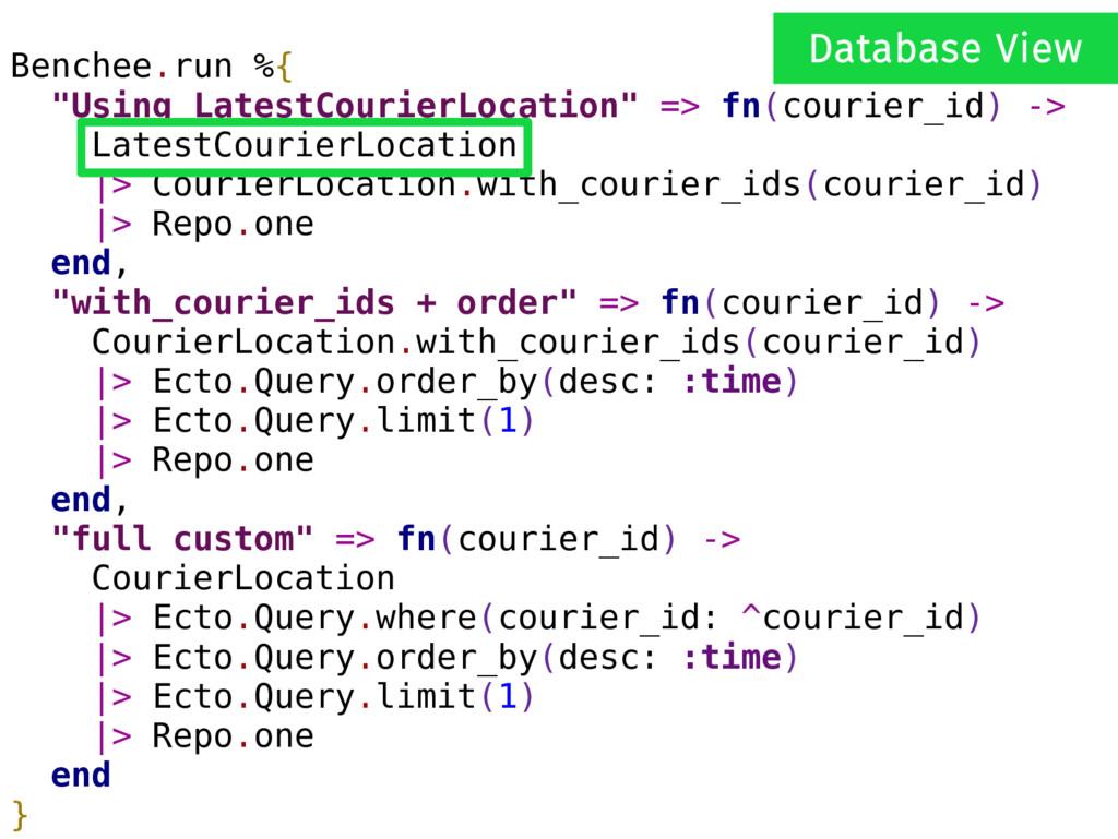 "Benchee.run %{ ""Using LatestCourierLocation"" =>..."