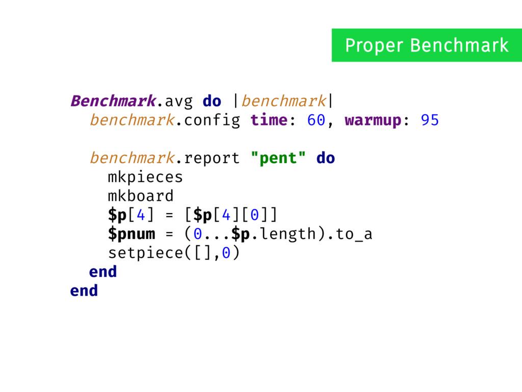 Benchmark.avg do |benchmark| benchmark.config t...