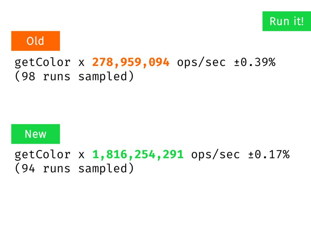 getColor x 278,959,094 ops/sec ±0.39% (98 runs ...