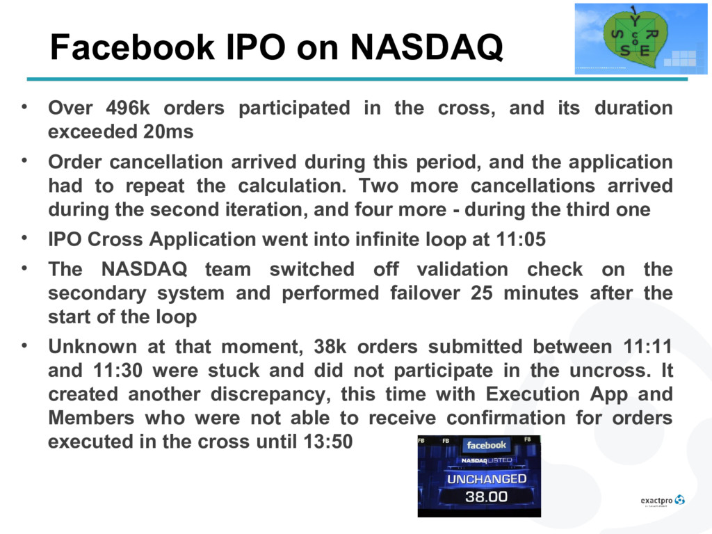 Facebook IPO on NASDAQ • Over 496k orders parti...