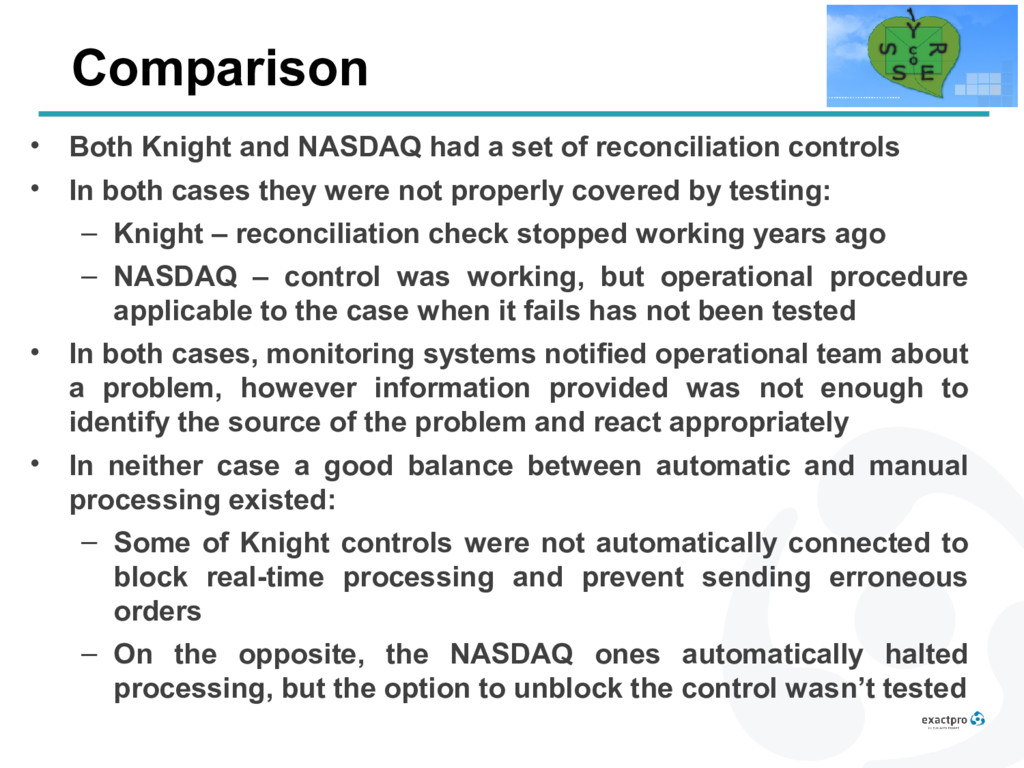 Comparison • Both Knight and NASDAQ had a set o...