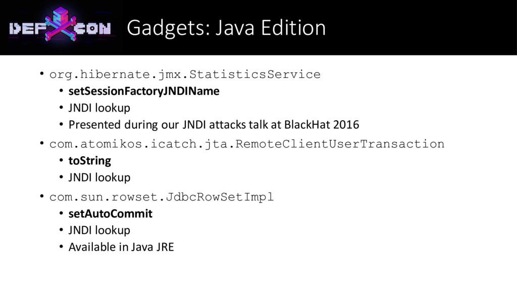 Gadgets: Java Edition • org.hibernate.jmx.Stati...