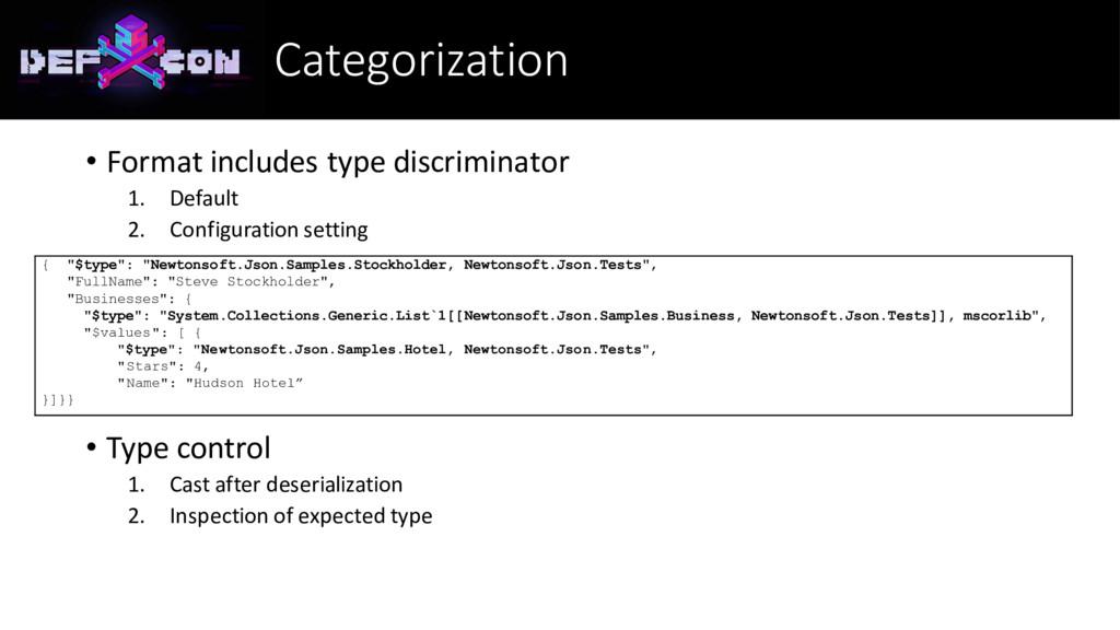 Categorization • Format includes type discrimin...