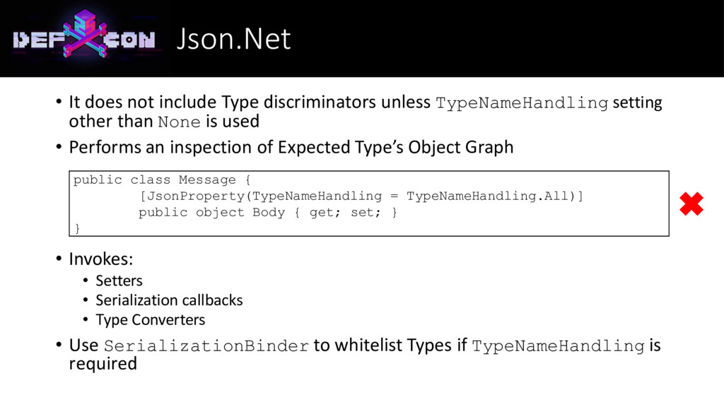 Json.Net • It does not include Type discriminat...