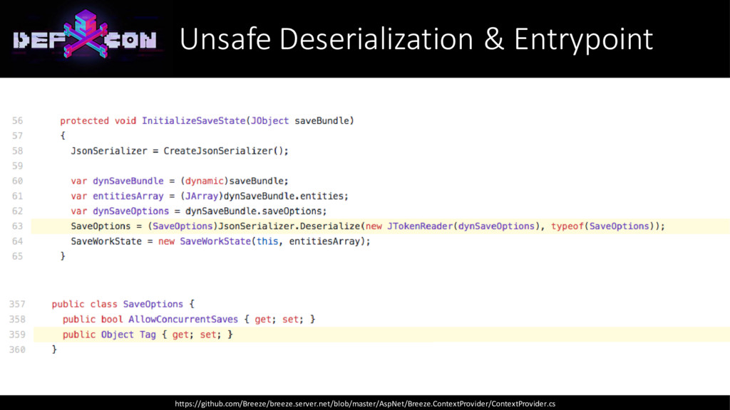 Unsafe Deserialization & Entrypoint https://git...