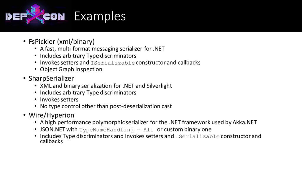 Examples • FsPickler (xml/binary) • A fast, mul...