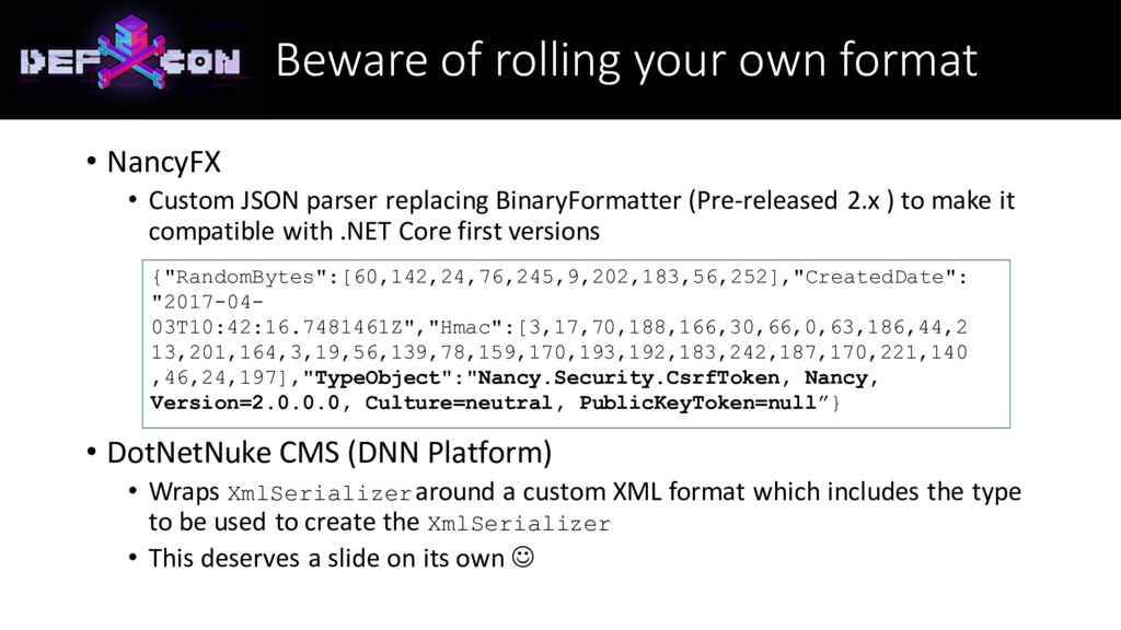 Beware of rolling your own format • NancyFX • C...