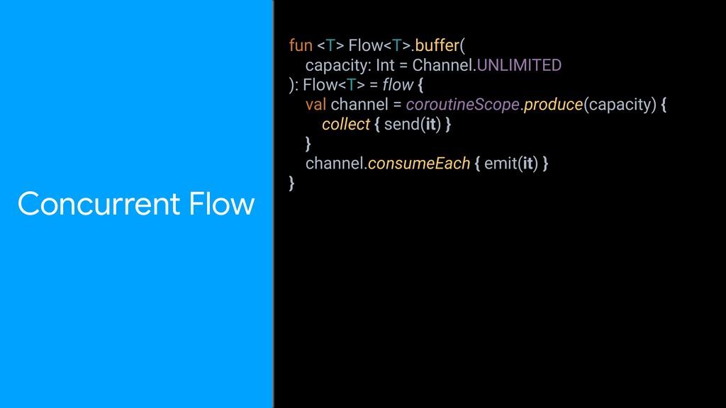 Concurrent Flow fun <T> Flow<T>.buffer( capacit...