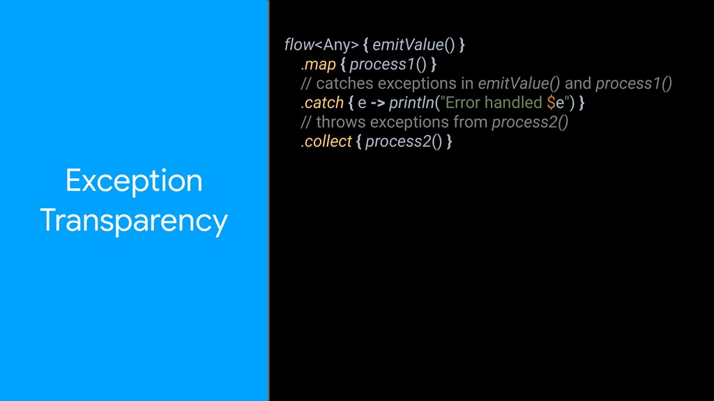 flow<Any> { emitValue() } .map { process1() } /...