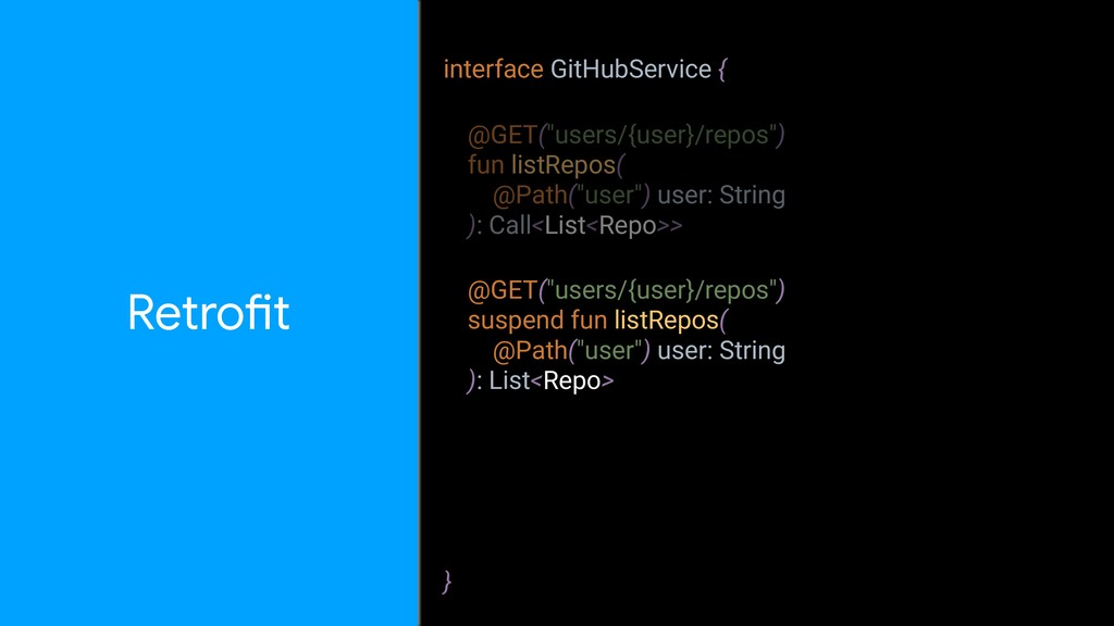 """interface GitHubService { } RetroZt @GET(""""users..."""