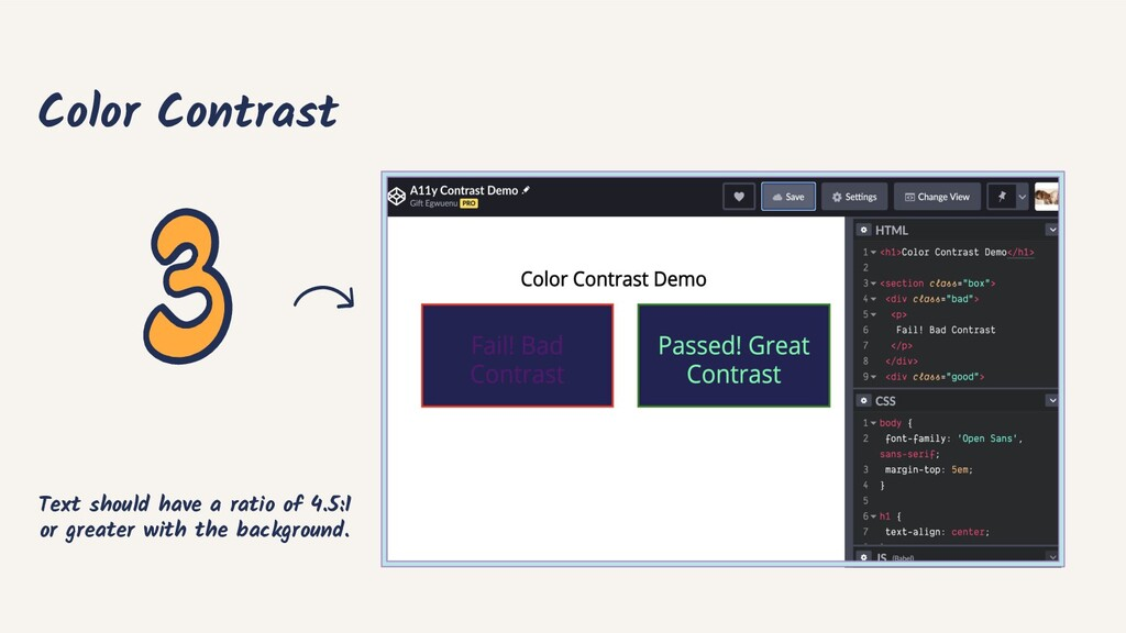 Color Contrast Text should have a ratio of 4.5:...