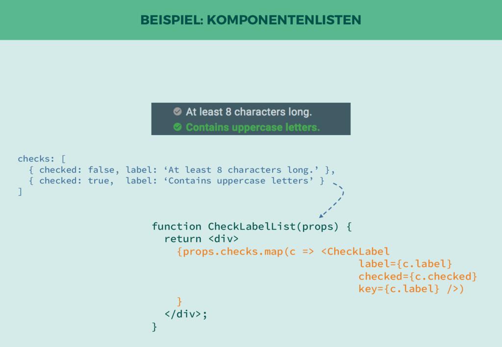 BEISPIEL: KOMPONENTENLISTEN function CheckLabel...
