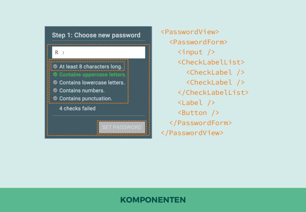 KOMPONENTEN <PasswordView> <PasswordForm> <inpu...