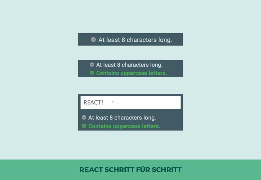REACT SCHRITT FÜR SCHRITT