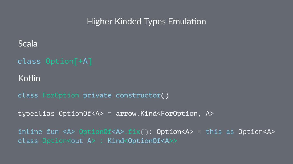 Higher Kinded Types Emula4on Scala class Option...
