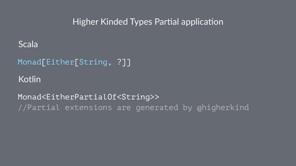 Higher Kinded Types Par1al applica1on Scala Mon...