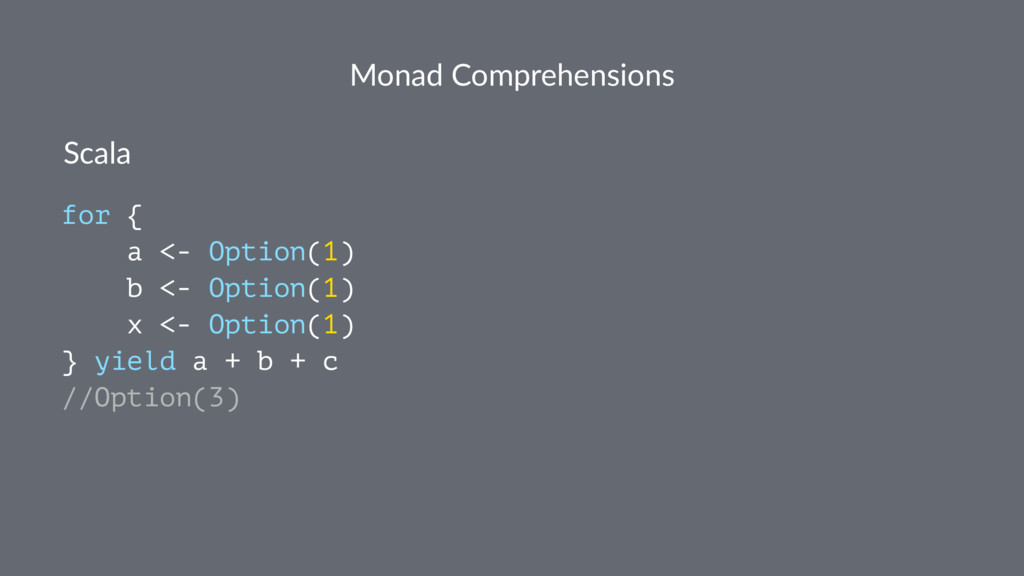 Monad Comprehensions Scala for { a <- Option(1)...