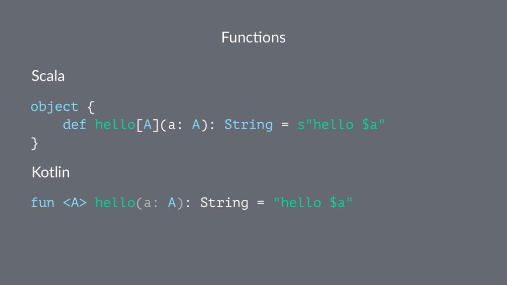 Func%ons Scala object { def hello[A](a: A): Str...