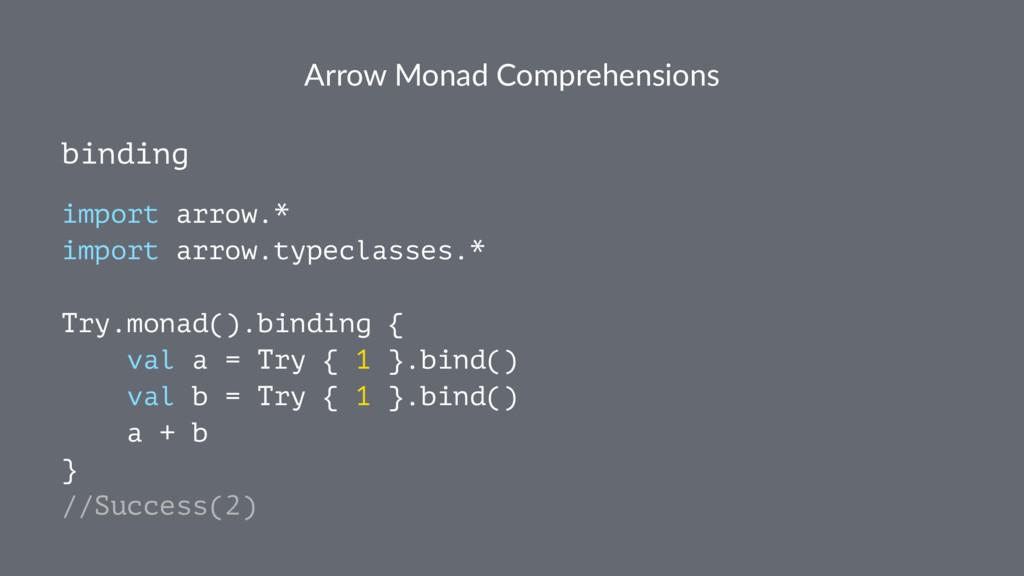 Arrow Monad Comprehensions binding import arrow...