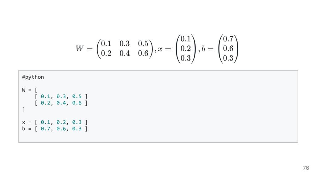 W = , x = , b = # p y t h o n W = [ [ 0 . 1 , 0...