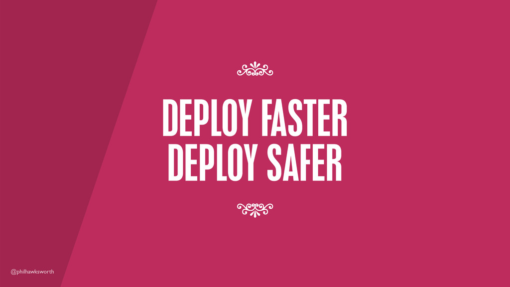 @philhawksworth DEPLOY FASTER DEPLOY SAFER 7 7