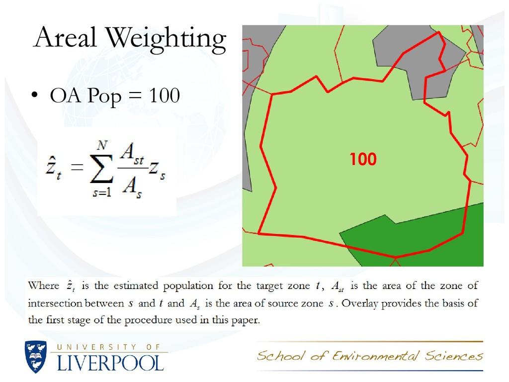 Areal Weighting • OA Pop = 100 100