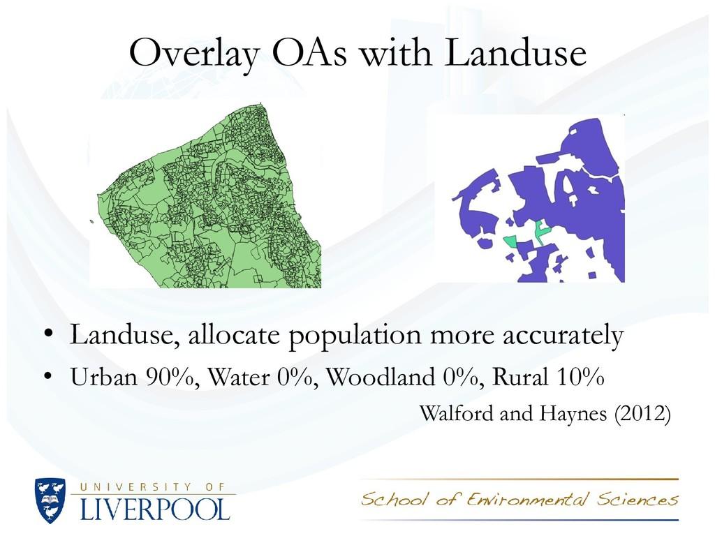 Overlay OAs with Landuse • Landuse, allocate po...