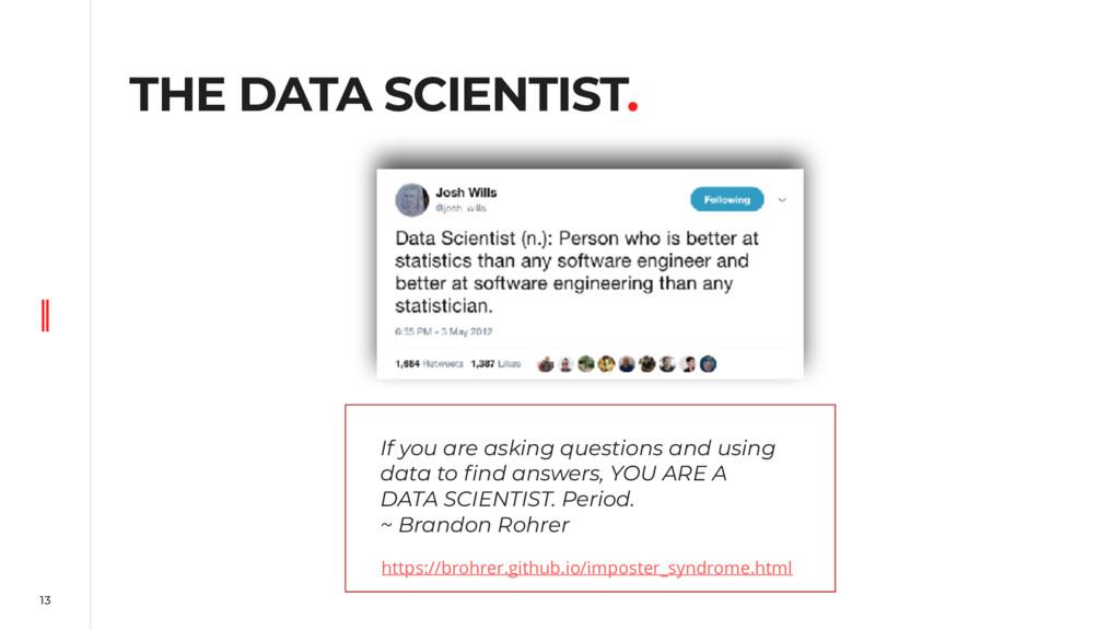 13 THE DATA SCIENTIST. https://brohrer.github.i...