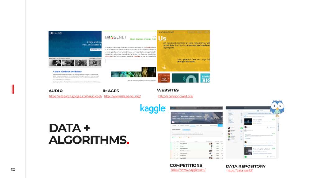 30 DATA + ALGORITHMS. AUDIO IMAGES WEBSITES COM...