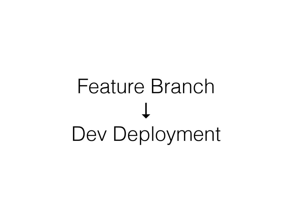 Feature Branch ↓ Dev Deployment