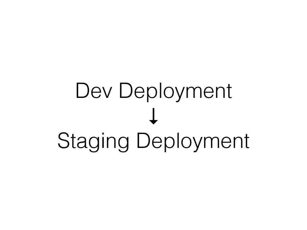 Dev Deployment ↓ Staging Deployment