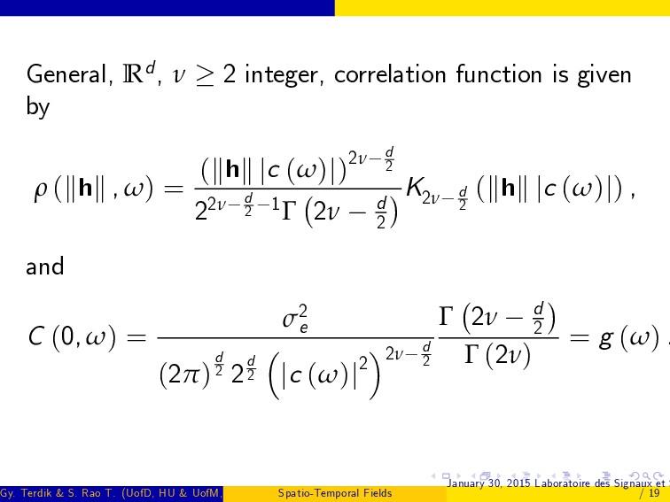 General, Rd, ν 2 integer, correlation function ...