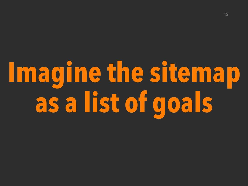 15 Imagine the sitemap as a list of goals