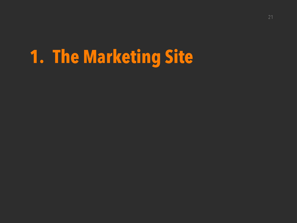 21 1. The Marketing Site