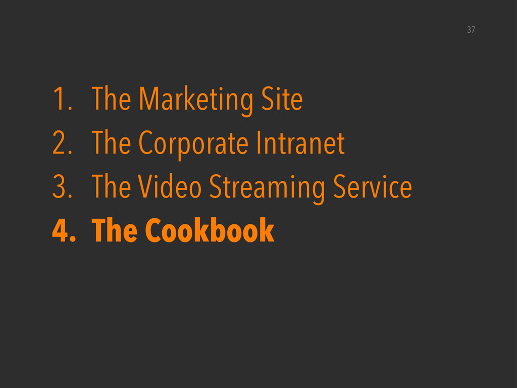 37 1. The Marketing Site 2. The Corporate Intra...