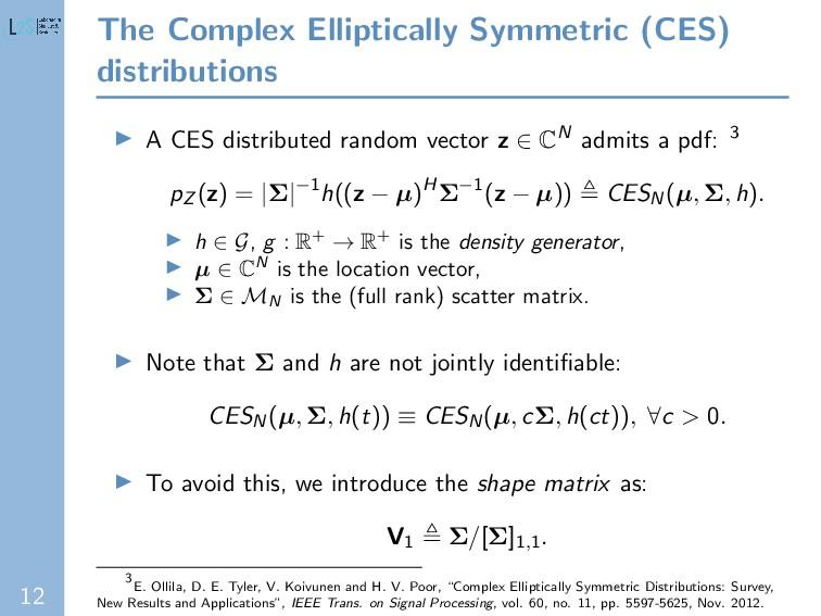 12 The Complex Elliptically Symmetric (CES) dis...