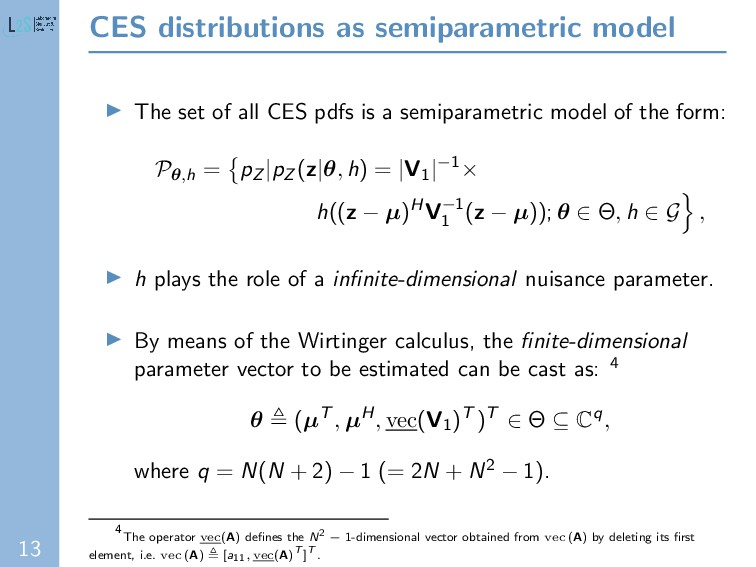 13 CES distributions as semiparametric model Th...