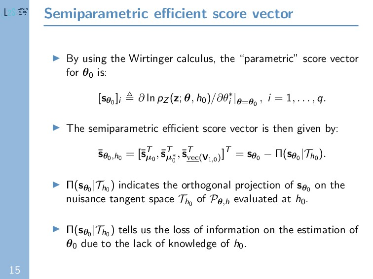 15 Semiparametric efficient score vector By using...