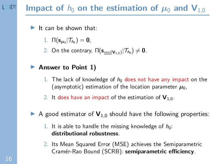 16 Impact of h0 on the estimation of µ0 and V1,...